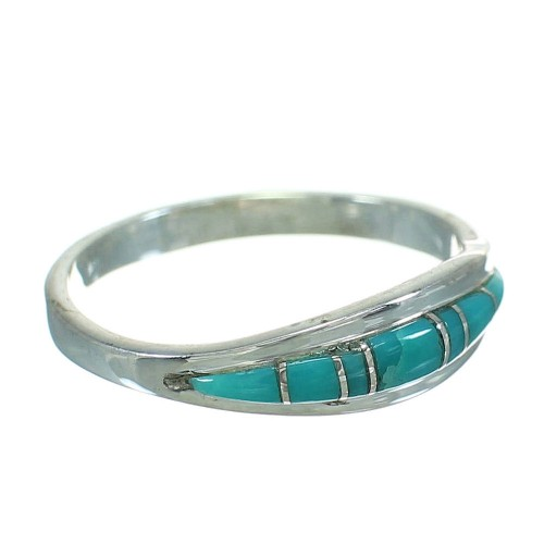 Southwest Genuine Sterling Silver Turquoise Ring Size 6-3/4 AX86607