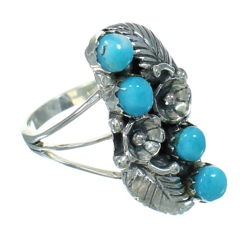 Silver Southwestern Turquoise Flower Ring Size 6 QX84383