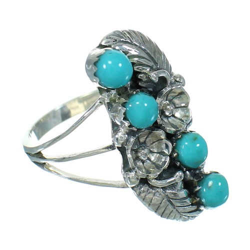 Authentic Sterling Silver Southwest Turquoise Flower Ring Size 7-1/2 QX84394