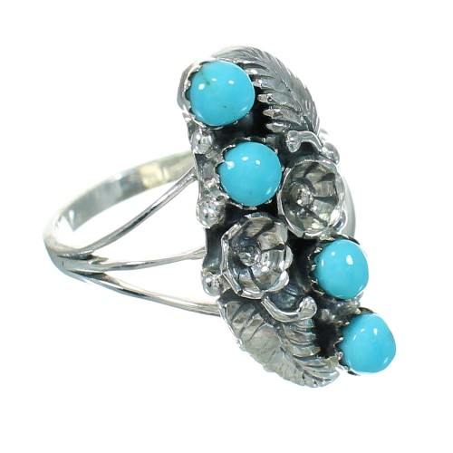 Genuine Sterling Silver Southwest Turquoise Flower Ring Size 5-1/2 QX84406
