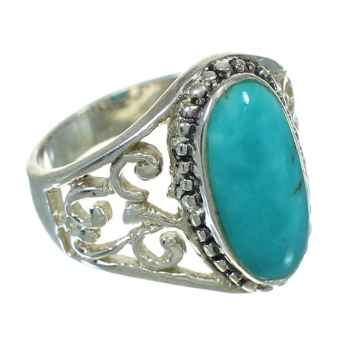 Southwest Genuine Sterling Silver Turquoise Ring Size 5-3/4 QX84474