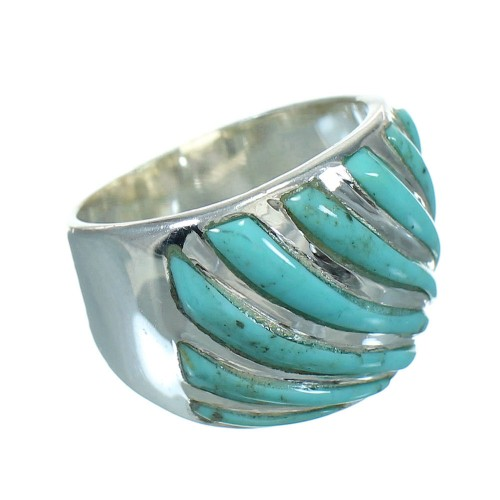 Turquoise Sterling Silver Southwestern Jewelry Ring Size 8-1/4 RX86322
