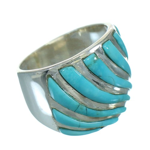 Sterling Silver And Turquoise Inlay Ring Size 4-1/2 RX86333