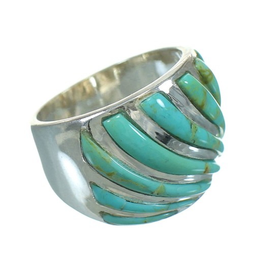 Sterling Silver Turquoise Inlay Southwest Ring Size 6 RX86335