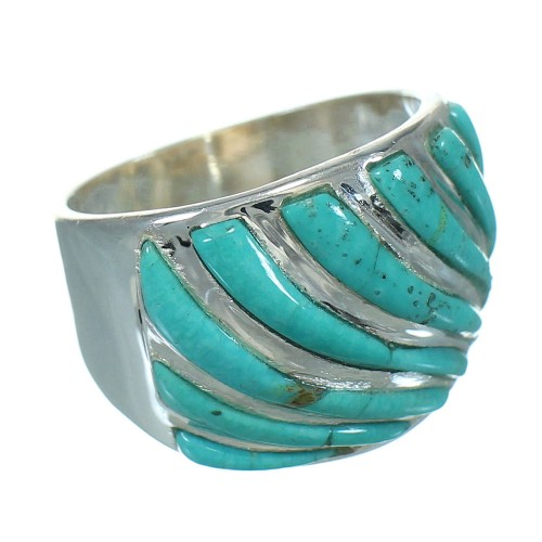 Turquoise Inlay Sterling Silver Southwest Jewelry Ring Size 8 RX86339