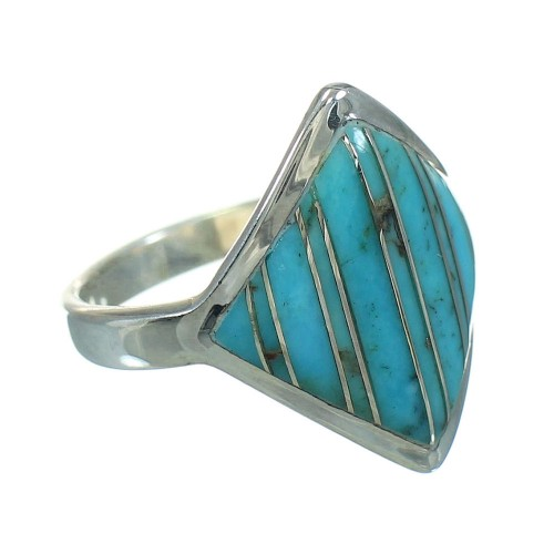 Turquoise Inlay Sterling Silver Jewelry Ring Size 5-1/4 RX86360