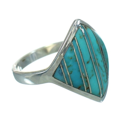Genuine Sterling Silver Turquoise Ring Size 5-1/4 RX86369