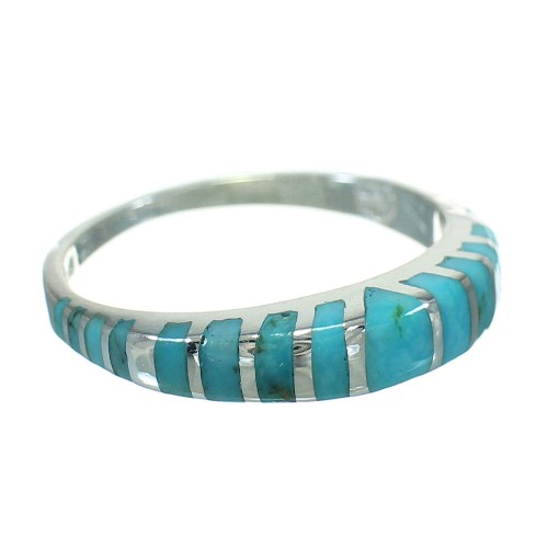 Turquoise And Sterling Silver Jewelry Ring Size 6-3/4 RX86572