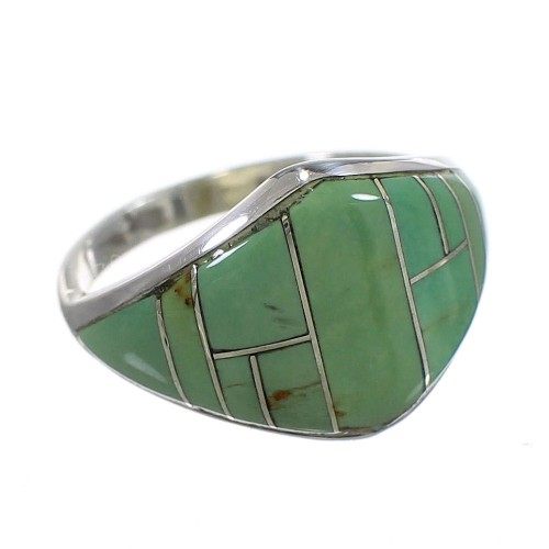 Turquoise Inlay Southwest Genuine Sterling Silver Ring Size 5-3/4 QX84090