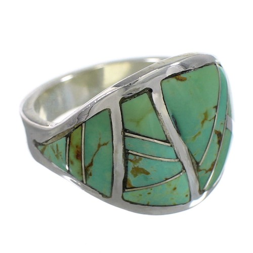 Silver Southwestern Turquoise Ring Size 7-1/4 QX84147