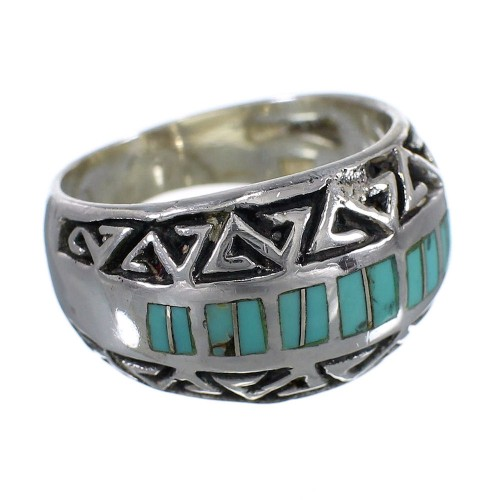 Turquoise Authentic Sterling Silver Water Wave Ring Size 6-1/4 AX83638