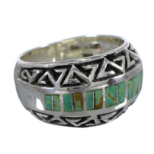 Southwestern Genuine Sterling Silver Water Wave Turquoise Ring Size 4-1/4 AX83764