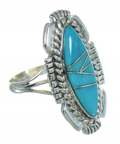 Southwestern Silver Turquoise Ring Size 5-1/4 QX85103