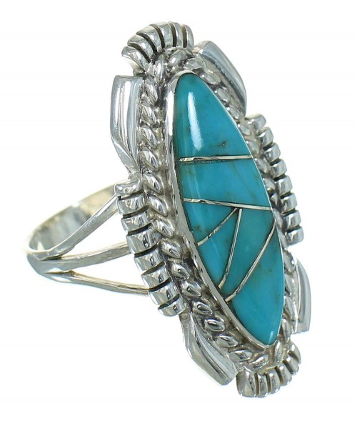 Turquoise Authentic Sterling Silver Southwestern Ring Size 7-3/4 QX85122
