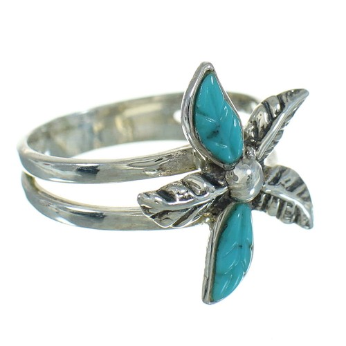 Turquoise Flower Southwest Silver Ring Size 7-1/4 QX85180