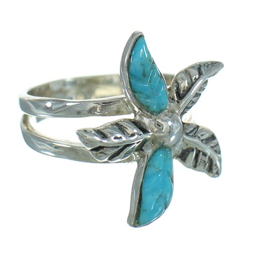 Silver Southwestern Turquoise Flower Ring Size 8-1/2 QX85191