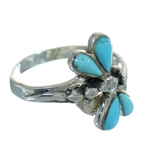 Turquoise Dragonfly Sterling Silver Southwest Ring Size 7-3/4 QX85230