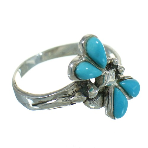 Silver Southwest Turquoise Dragonfly Ring Size 7-1/2 QX85198