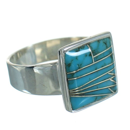 Turquoise Southwest Silver Ring Size 5 QX85239