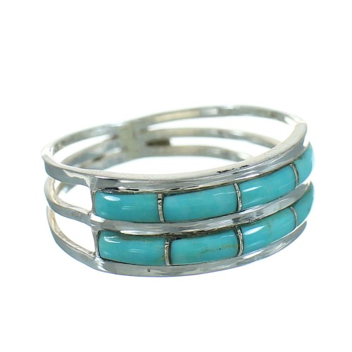 Genuine Sterling Silver Turquoise Inlay Ring Size 6-3/4 RX84970