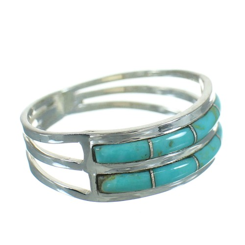 Southwestern Sterling Silver And Turquoise Ring Size 8 RX85151