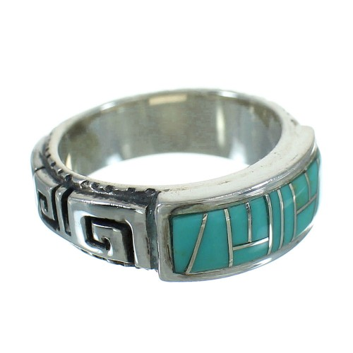 Turquoise Southwestern Authentic Sterling Silver Water Wave Ring Size 4-1/2 QX85733