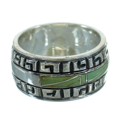 Silver Southwestern Turquoise Water Wave Ring Size 5-3/4 QX85749