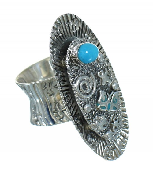 Southwest Genuine Sterling Silver Turquoise Butterfly Bear Ring Size 8-1/2 QX85265