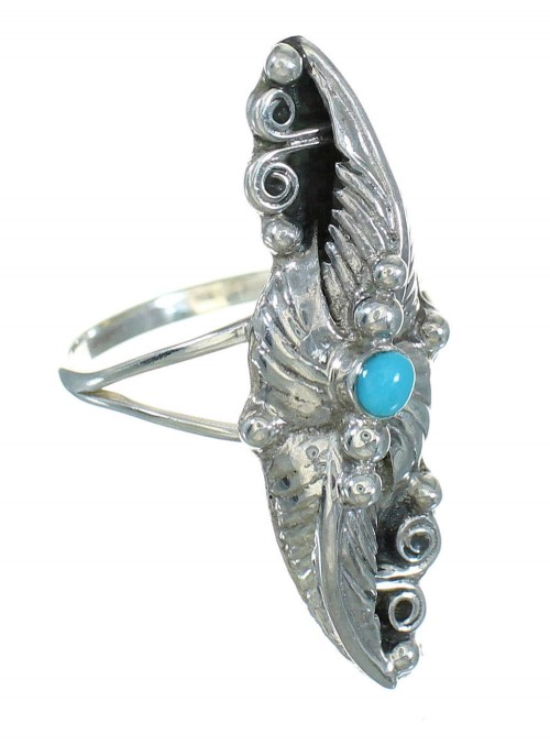 Southwest Authentic Sterling Silver Turquoise Ring Size 8 QX85278