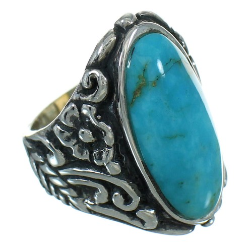 Turquoise Sterling Silver Southwestern Flower Ring Size 5-1/4 YX85413