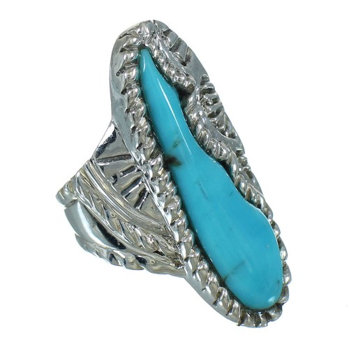 Southwest Turquoise Genuine Sterling Silver Ring Size 5-3/4 YX85591