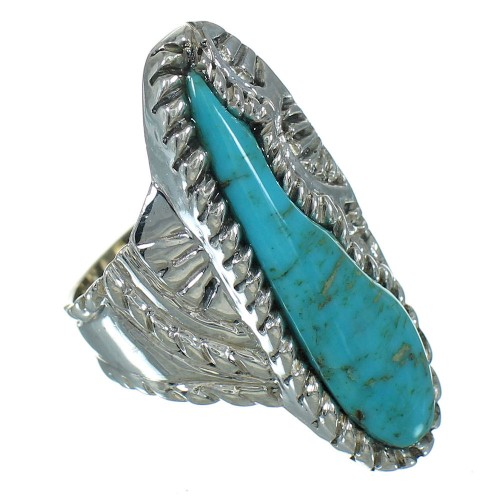 Southwestern Sterling Silver Turquoise Ring Size 7-1/4 YX85628