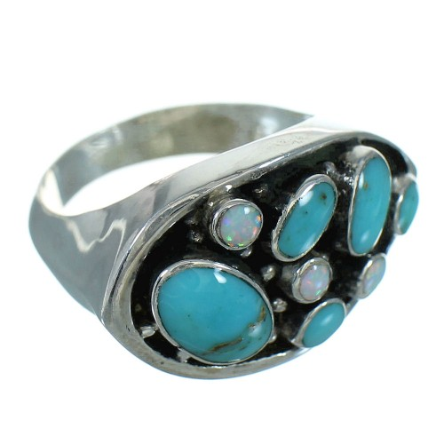 Turquoise And Opal Genuine Sterling Silver Ring Size 8-1/2 UX84178