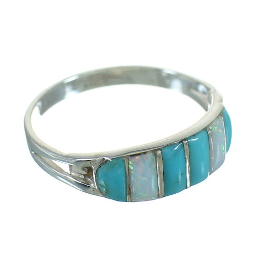 Southwest Turquoise Opal Inlay Genuine Sterling Silver Ring Size 8-1/2 UX84395