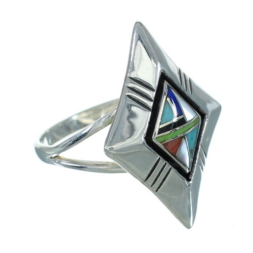 Southwest Multicolor And Sterling Silver Ring Size 8-1/4 YX83382