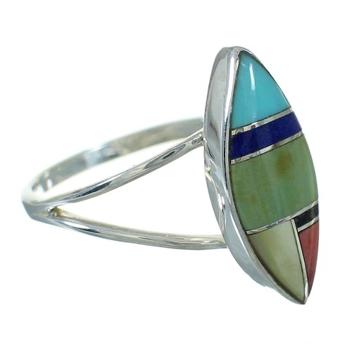 Southwest Multicolor And Authentic Sterling Silver Ring Size 8-3/4 YX83394