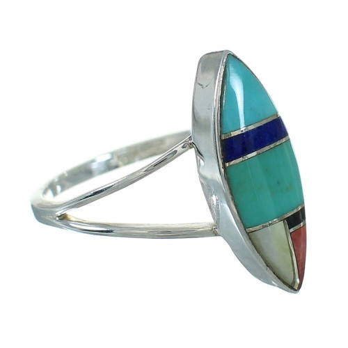 Southwestern Multicolor And Authentic Sterling Silver Ring Size 4-3/4 YX83396