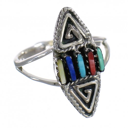 Southwestern Sterling Silver Multicolor Water Wave Needlepoint Ring Size 4-1/2 QX84937
