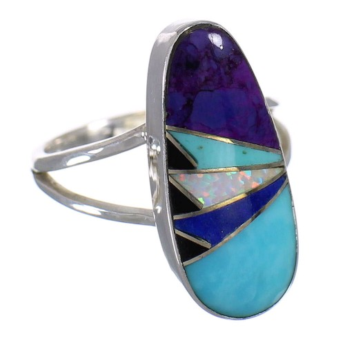 Multicolor Sterling Silver Southwest Ring Size 5 QX84785