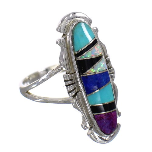 Silver Southwest Multicolor Jewelry Ring Size 6-1/4 QX84842