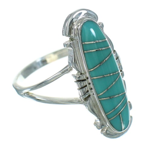 Turquoise Silver Southwest Ring Size 7-1/2 QX83559