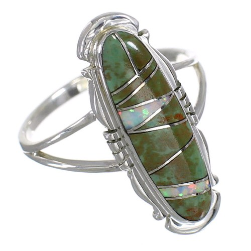 Southwest Opal Turquoise Authentic Sterling Silver Ring Size 5-1/2 YX83627
