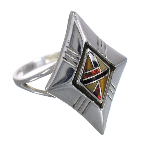Genuine Stering Silver Southwest Multicolor Inlay Ring Size 8-1/4 RX84069