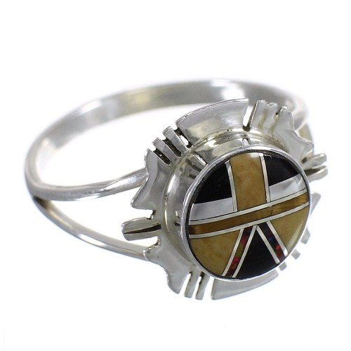 Genuine Sterling Silver And Multicolor Inlay Ring Size 4-1/2 RX84190