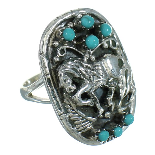 Silver Southwestern Turquoise Horse Ring Size 5 QX84646