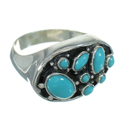 Southwest Turquoise Genuine Sterling Silver Ring Size 6-3/4 QX84699