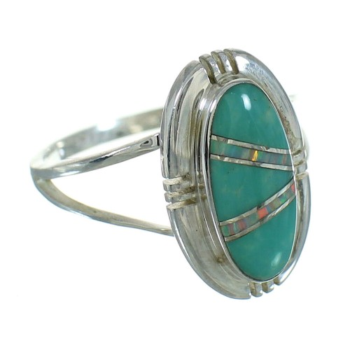 Southwest Silver Turquoise Opal Ring Size 7-1/2 QX83478