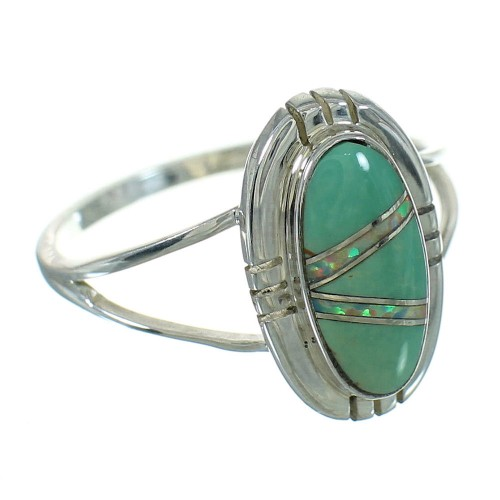 Turquoise Opal Authentic Sterling Silver Southwest Ring Size 4-1/2 QX83496
