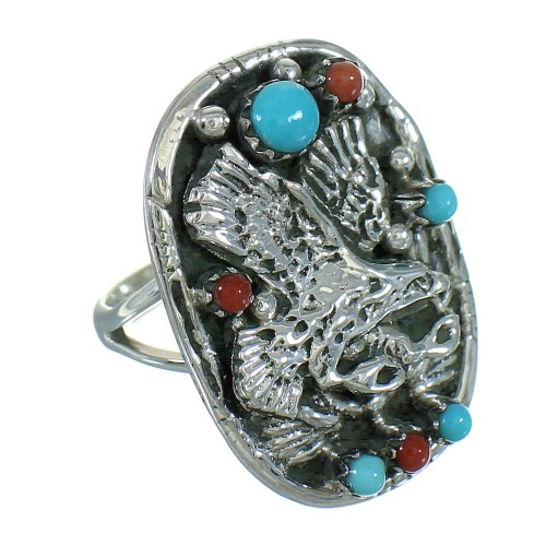 Turquoise Coral Eagle Sterling Silver Ring Size 7 RX84385