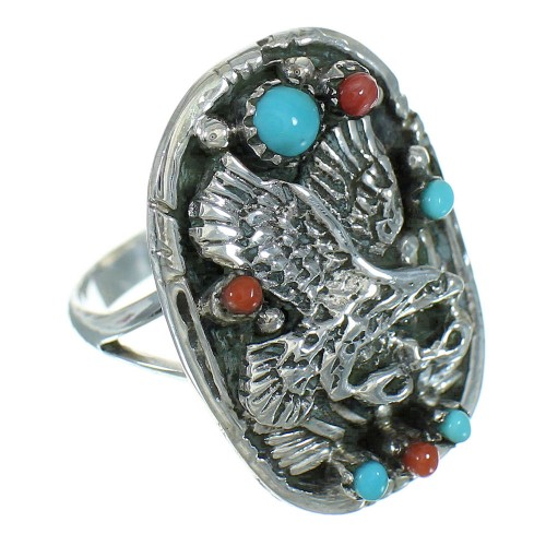Sterling Silver And Turquoise Coral Eagle Ring Size 6-1/4 RX84401